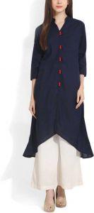 Women Solid Cotton Blend Straight Kurta(Blue)