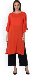Women Solid Rayon Straight Kurta(Orange)
