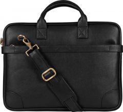 Solid 13 Inch Laptop Messenger Bag With Adjustable Strap (Black)