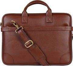 Solid 13 Inch Laptop Messenger Bag With Adjustable Strap (Brown)
