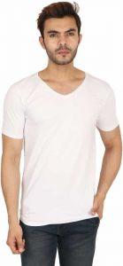 Men Stylish Solid V Neck White T-Shirt (Pack of 1)