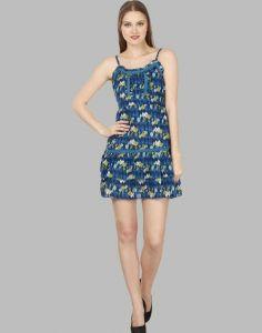 Women Cotton Western Wear Layered Blue Dress