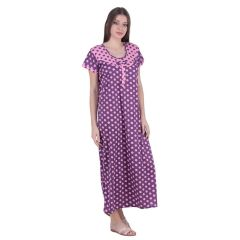 Kismat Fashion Hosiery Cotton Long Nighty - Pink/Purple