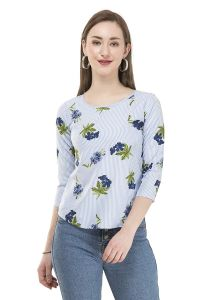 Jazbay Trending, Stylish & Fashionable Regular Everyday and Formal Occasions Crepe Soft 3/4th Sleeves Nice Printed Plain Cut Work TOP For Women (Pack Of 1)