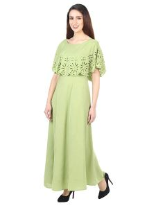 Jazbay Trending, Stylish & Fashionable Regular Fitting Round Frilled Neck Maxi Dress/Gown For Women (Pack of 1) (Light Green)