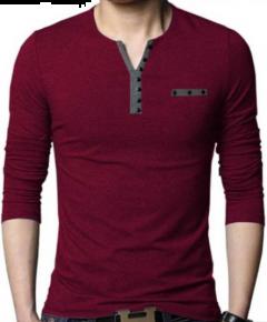 Henley Small V Neck Design Pattern Full Sleeves Regular Fit Cotton T-Shirt For Men's