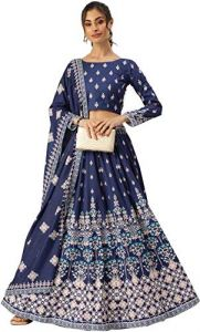 Wear Flared Lehenga Choli With Stunning Printed Dupatta With Can-Can for Womens