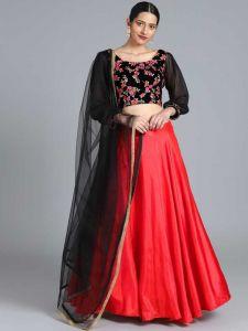 Satin Blend Embroidered Semi Stitched Lehenga Choli For Women's
