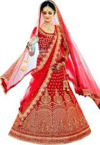 Satin Blend Embroidered Semi Stitched Wedding Wear Lehenga Choli For Women's