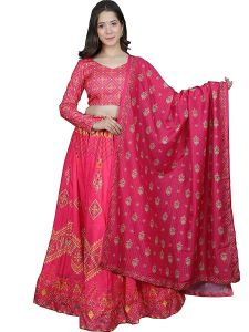 Floral Printed Lehenga With Unstitched Blouse & Dupatta for Womens (Color:-Pink)