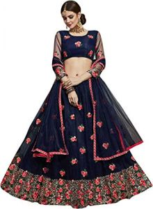 Fashionable Net & Satin Silk Embroidery With Sequence Work Lehenga Choli For Women's