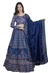 Floral Printed Lehenga With Unstitched Blouse & Dupatta for Womens (Color:-Blue)