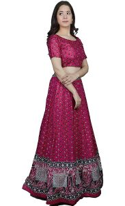 Floral Printed Lehenga With Unstitched Blouse & Dupatta for Womens (Color:-Purple)