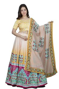 Floral Printed Lehenga With Unstitched Blouse & Dupatta for Womens (Multicolor)