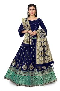 Fashionable and Stylish Banarasi Jacquard Silk Semi Stitched Lehenga Choli With Dupatta For Women's