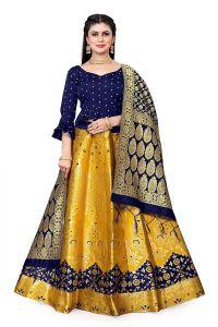 Fashionable and Stylish Jacquard unstitched Lehenga Choli For Women's