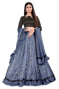 Fashionable Heavy Moti Sequence With Mirror Lace and Ruffle Work Lehenga Choli For Women's