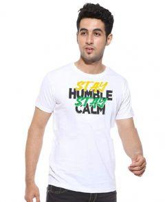 CottonPanda Casual Premium Cotton Stay Humble Stay Calm Graphic Print T-shirt for Men's