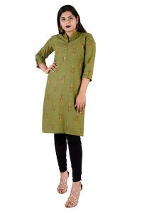 Trending Attractive Light Olive Green Cotton Stitched Kurta for Women