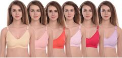 Kity Full Coverage Non Padded Bra (C-cup   Multi-color   Comfort fit   Pack of 6  )
