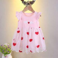 Baby Girl's Cute Little Heart Printed Baby Girl Frock Dress