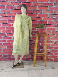 WACA Fashionable & Trendy Kota Suit Piece with Chikankari Embroidery with it Comes a Lavishing Embroidered Dupatta for Women's (Color: Lime Green) | (Pack of 1)