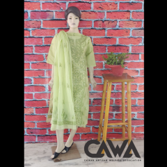 Cawa Stylish & Trendy Kota Suit Piece With Chikankari Embroidery with it comes a Lavishing Dupatta for Women's (Pack: Pack of 1) | (Color: Lime Green)