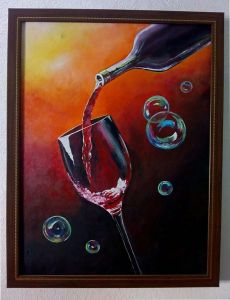 Acrylic Canvas Wine Painting Fiber Material Perfect For Decoration (18 Inch x 24 Inch)