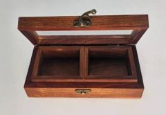 Livster Handmade Wooden Dry Fruit Box with Glass, 2 Bowls, Storage Bowl (Brown)