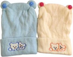 Livster Solid Soft Winter Warm Woolen Caps for Baby Boys & Girls (Pack of 2)