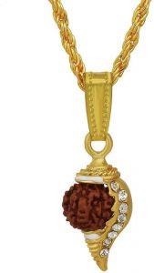 Rudraksha Studded Conch Shell Shankha/Shankh Pendant Locket Fashion Jewellery For Men & Women
