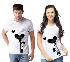 Love Together Couple Men's and Women's Cotton Graphic Printed Regular Fit T-Shirts (Pack of 2)