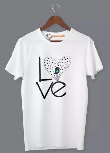 Frndmart Stylish & Fashionable Love Casual Round Neck Printed T-Shirt For Men's (White)