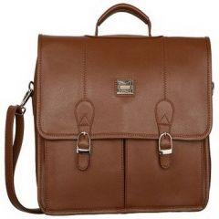 Splash USA Tan Genuine Leather Laptop Bag For Men