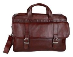 Splash USA Red Genuine Leather Laptop Bag For Men (Color: Brown)