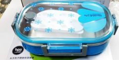 Premium Stainless Steel 2 Containers Lunch Box (Blue) (Size:- 710 ml)