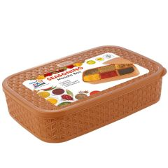 Ski Seasoning Separate 6 removable cups Multipurpose Masala Rangoli Box Dabba (Light Brown)