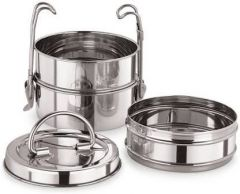 3 in 1 Stainless Steel Clip Carrier Lunch Box with Retractive handles (Pack of 1)