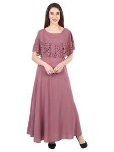 Jazbay Trending & Fashionable Regular Full Length Crepe Light Wine Color Maxi Dress/Gown For Women (Pack of 1)