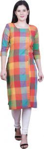 Women Checkered Polycotton Straight Kurta (Multicolor)