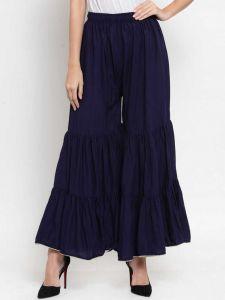 Flared Women Rayon Trousers (Dark Blue)