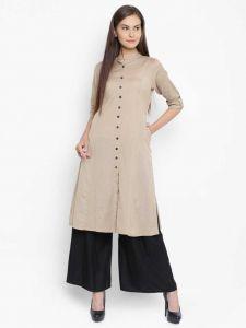 Women Solid Pure Cotton Frontslit Kurta(Beige)