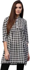 Women Solid Cotton Rayon Blend Checkered Tunic (Black, White)