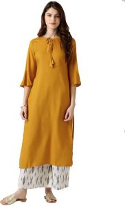 Women Solid Rayon Straight Kurta(Yellow)