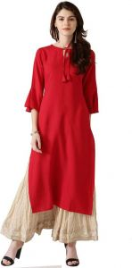 Women Solid Rayon Straight Kurta (Red)