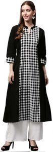 Women Checkered Cotton Blend A-line Kurta(White, Black)