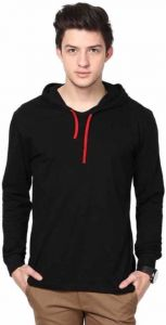Solid Boy Hooded Neck Black T-Shirt