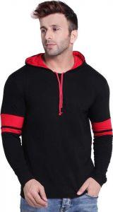 Solid Men Hooded Neck T-Shirt - Black/Red