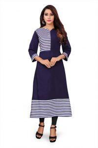 Women Solid, Striped Poly Crepe Straight Kurti (Dark Blue)