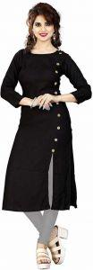 Women Solid Pure Cotton Ethnic Dress (Black)